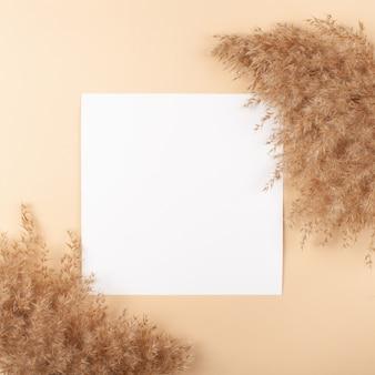 Mocup sur fond beige. espace blanc vide pour le texte.