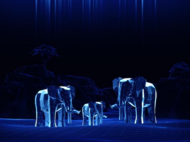 Mode hologramme d'éléphants bas modèle 3d sur espace sombre.