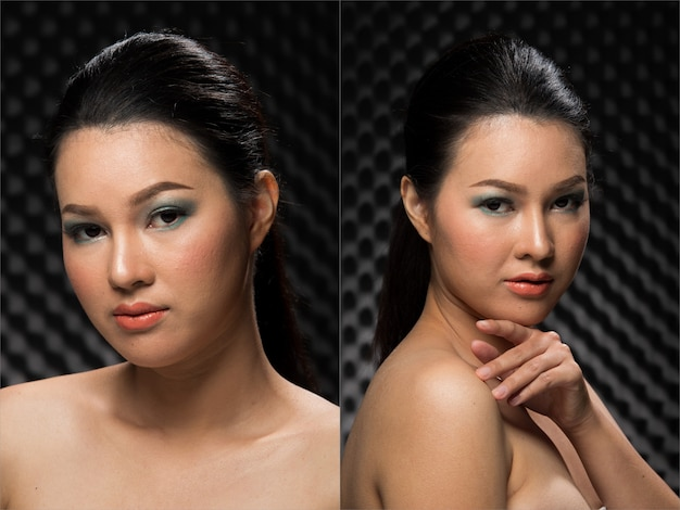Mode jeune femme asiatique mince peau bronzée yeux cheveux bruns beau maquillage mode posant un look humide glam attrayant. pack de groupe de collage de fond sombre insonorisé studio lighting