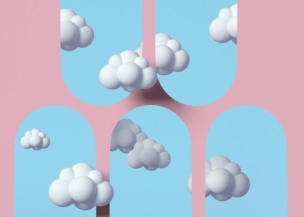 Modèle 3d avec arrangement de nuages blancs
