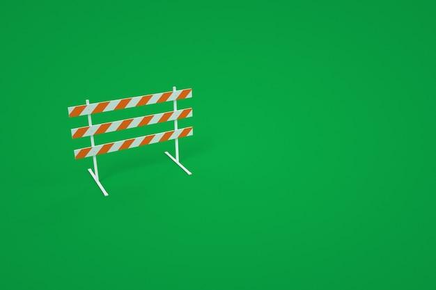 Modèle 3d d'une barrière de construction. barrière de construction d'avertissement. fond vert. infographie.