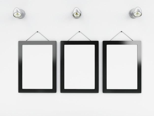 Modèle 3d cadres vides avec la place pour votre texte et design