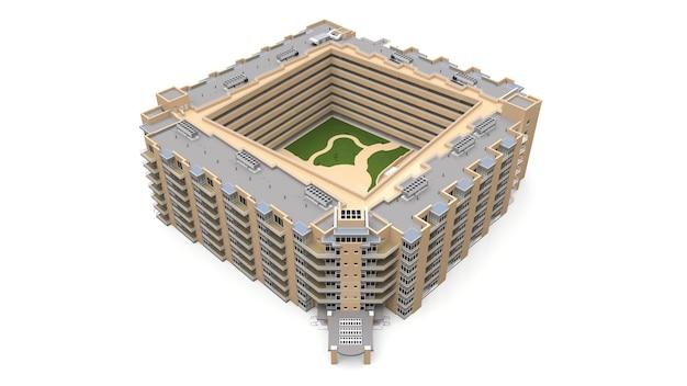 Modèle 3d de condominium. immeuble avec cour. rendu 3d.