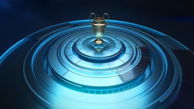 Modèle 3d de la coupe des champions au-dessus de la sphère avec panneaux rotatifs, concept de récompense sportive