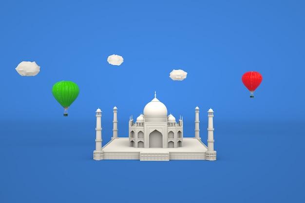 Modèle 3d d'une mosquée blanche sur fond bleu isolé modèle graphique d'une mosquée musulmane