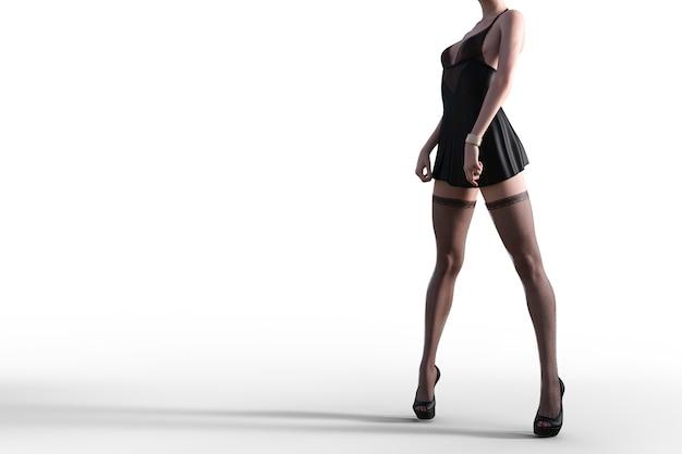 Modèle 3d sexy en lingerie et bas en dentelle noire. illustrateur 3d.