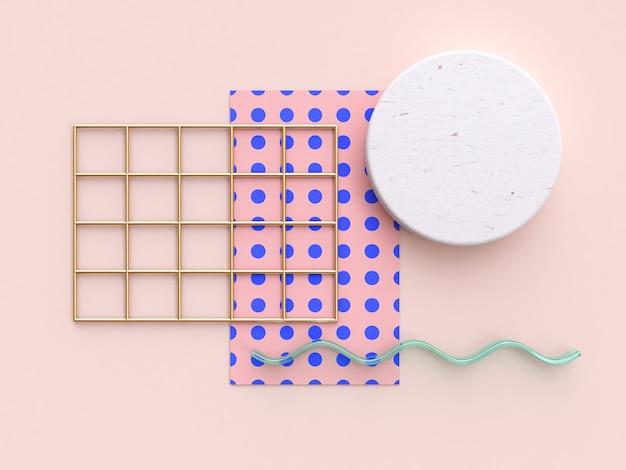 Modèle abstrait bleu-rose minimaliste plat poser 3d rendu