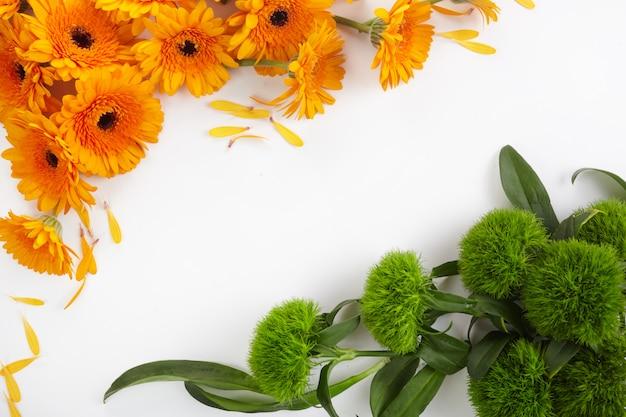 Modèle abstrait avec cadre de fleurs orange et vert sur fond blanc. fond de jour de l'indépendance de l'inde.