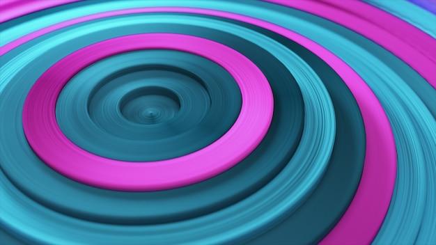 Modèle abstrait de cercles colorés avec effet décalé. anneaux bleus roses.