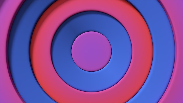 Modèle abstrait de cercles colorés avec effet décalé. anneaux bleus rouges.fond créatif abstrait. illustration 3d