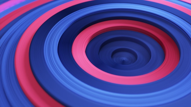 Modèle abstrait de cercles colorés avec effet décalé. anneaux bleus rouges.