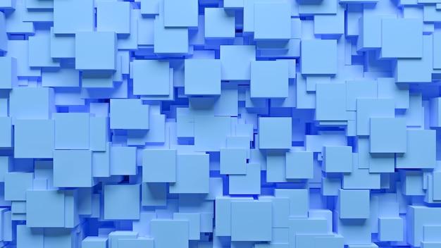 Modèle abstrait cubes dispersés de façon chaotique de couleur bleue, illustration 3d