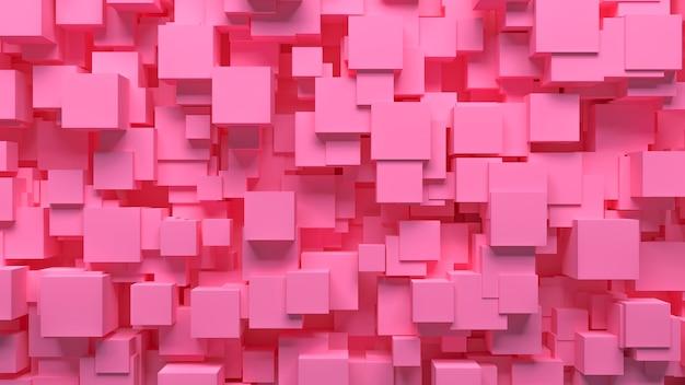 Modèle abstrait cubes dispersés de façon chaotique de couleur rose, illustration 3d