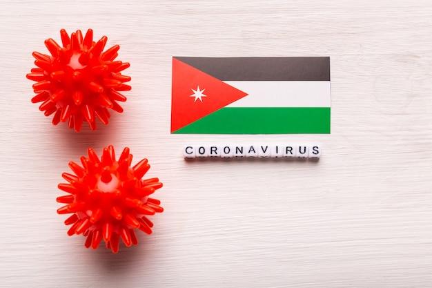 Modèle abstrait de souche de virus du coronavirus du syndrome respiratoire du moyen-orient 2019-ncov ou coronavirus covid-19 avec texte et drapeau jordanie sur blanc