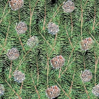 Modèle aquarelle avec des branches d'arbres, pin, pomme de pin, motif vert abstrait
