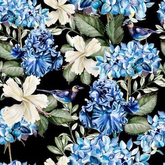 Modèle aquarelle coloré avec des fleurs d'hortensia, d'hibiscus, d'iris et d'oiseaux. illustration