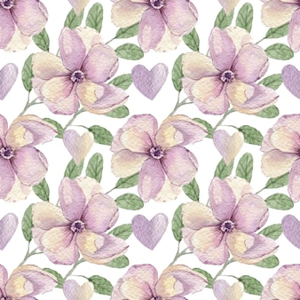 Modèle aquarelle de fleurs et de coeurs