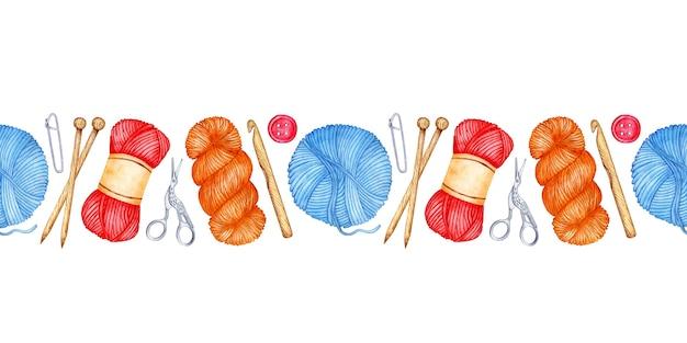 Modèle aquarelle outils de tricot horizontal modèle sans couture aiguilles à tricoter en bois