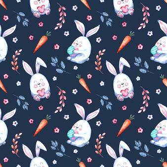 Modèle aquarelle transparente avec des lapins de pâques avec des carottes, des brindilles de saule, des fleurs sur fond blanc,