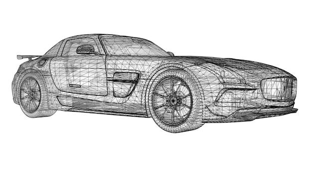 Le modèle arbore un coupé premium. illustration raster sous la forme d'une grille triangulaire polygonale noire sur fond blanc. rendu 3d.