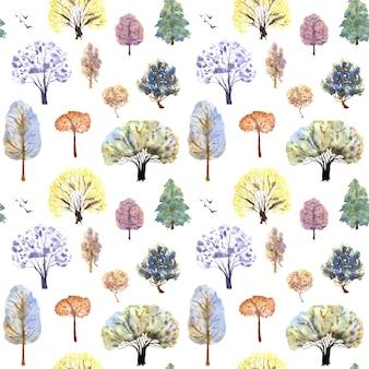 Modèle d'arbres d'hiver sur fond blanc. illustration aquarelle dessinée à la main.