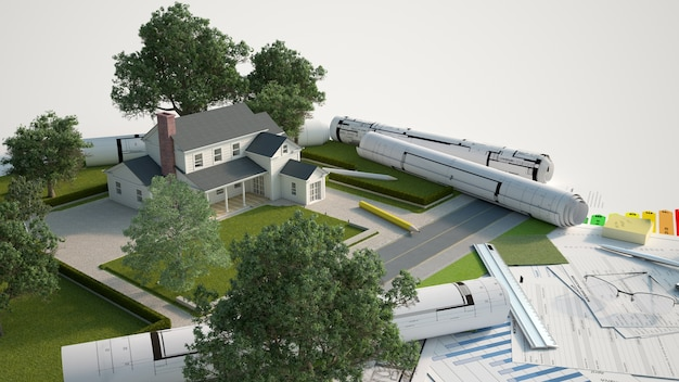 Modèle architectural et paysager de la maison avec des plans, des graphiques d'efficacité énergétique