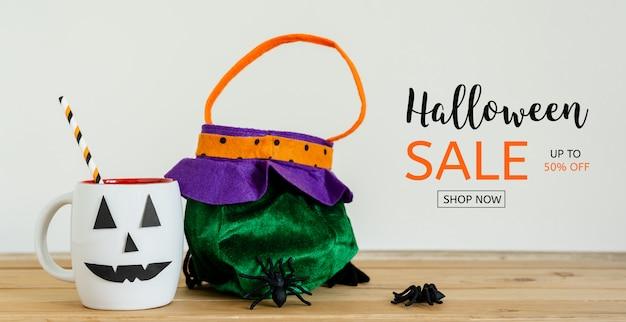 Modèle de bannière de vente halloween jour