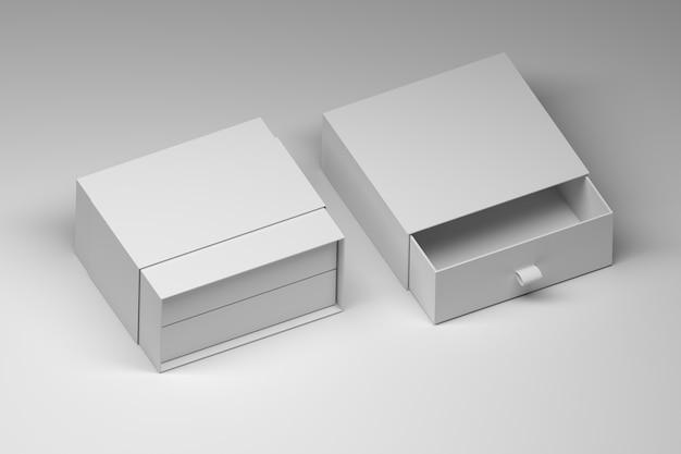 Modèle de boîte-cadeau ouvert blanc sur surface blanche