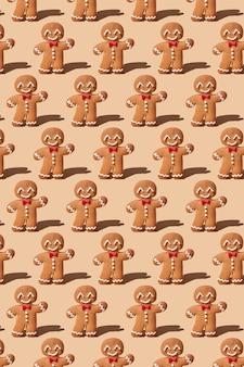 Modèle de bonhomme en pain d'épice mignon pour carte de noël
