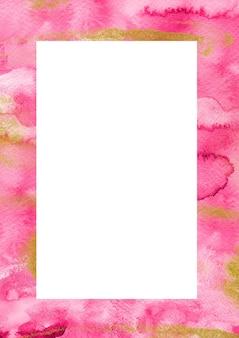 Modèle de bordure verticale dessiné main rose violet et or. modèle créatif d'art aquarelle