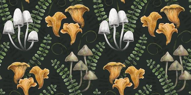 Modèle botanique sans couture fond de forêt sombre avec des herbes et des feuilles de champignons
