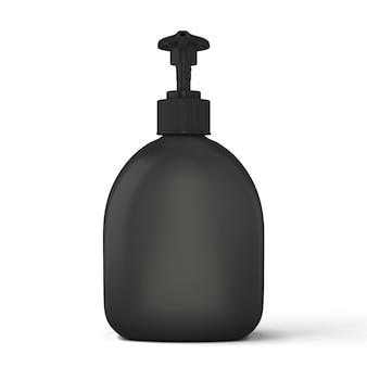 Modèle de bouteille noire pour savon isolé sur blanc. illustration 3d.
