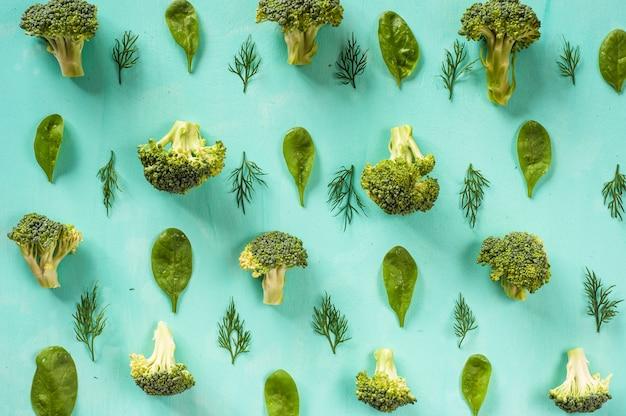 Modèle de brocoli, épinards, fenouil, végétarien, concept d'alimentation saine