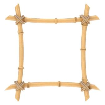 Modèle de cadre de bâtons de bambou en bois sur un fond blanc. rendu 3d