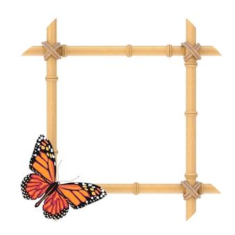 Modèle de cadre de bâtons de bambou en bois avec papillon sur fond blanc. rendu 3d