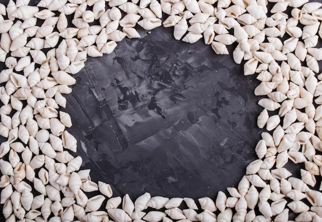 Modèle de cadre blanc de petits coquillages sur fond noir