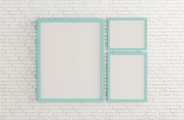 Modèle de cadre photo couleur blanc menthe pour placer l'image ou du texte à l'intérieur sur le mur de briques blanches.