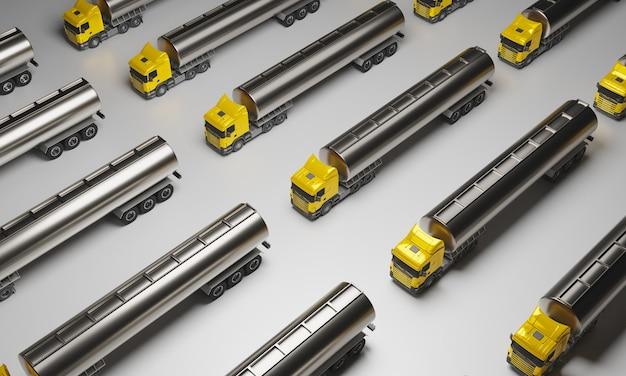 Modèle de camion jaune avec remorque à gaz en métal sur surface blanche