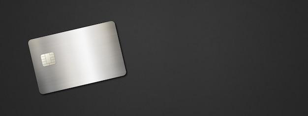 Modèle de carte de crédit argenté sur fond noir. illustration 3d