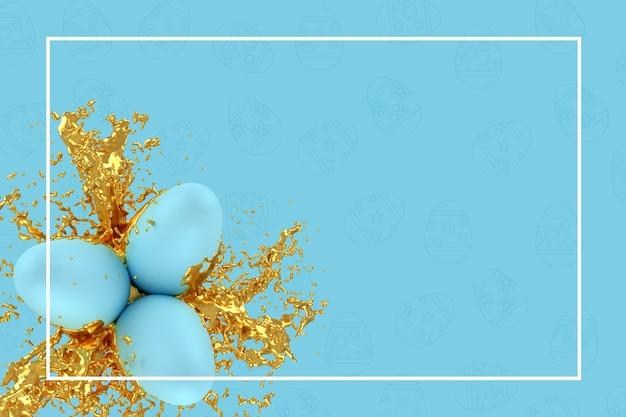 Modèle de carte de voeux de pâques ou illustration 3d de carte publicitaire