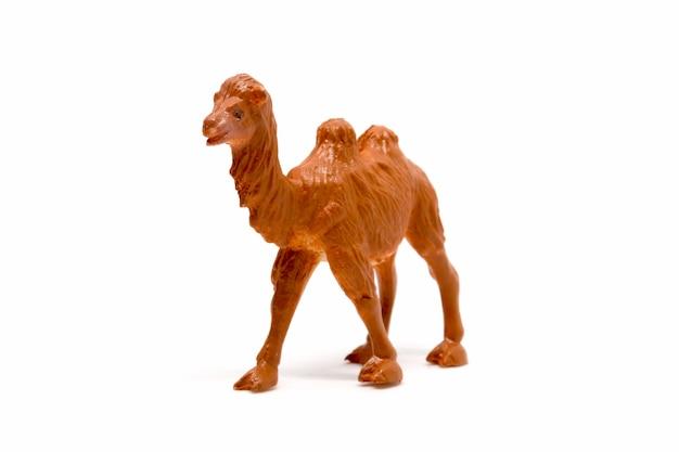 Modèle de chameau isolé sur fond blanc, jouets en plastique pour animaux