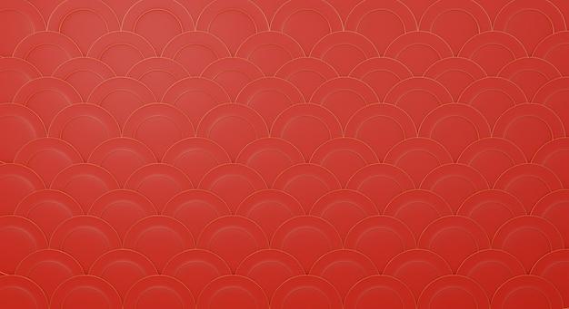 Modèle chinois 3d dans le modèle de fond de conception rouge