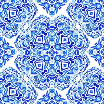 Modèle de conception de carreaux de céramique sans soudure aquarelle dessinés à la main bleue