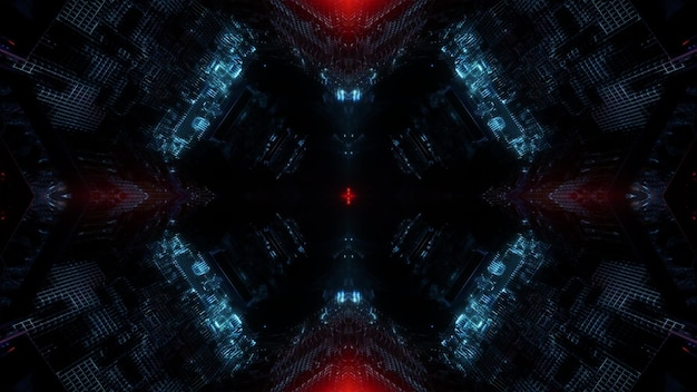 Modèle de conception de fond illustration 3d avec des taches de lumière rougeoyante symétriques de tunnel sans fin sombre abstrait