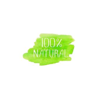 Modèle de conception de logo de concept de produits naturels. bannière d'affiche d'emblème d'étiquette dessinée à la main aquarelle verte. lettrage sur l'illustration de tache d'aquarelle de texture de brosse verte d'isolement sur le fond blanc.