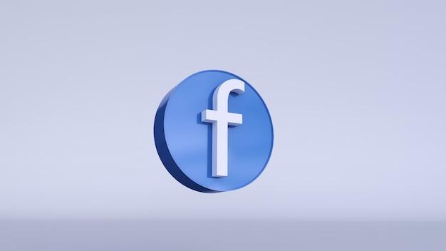 Modèle de conception simple minimal de logo facebook. copie espace rendu 3d