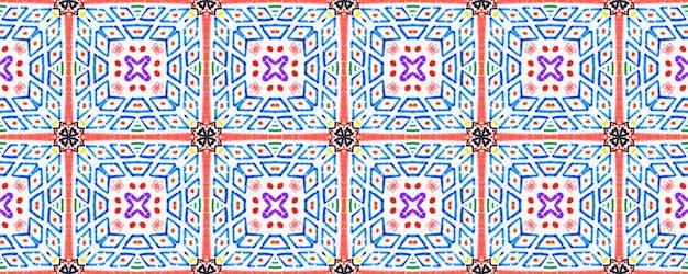 Modèle de conception de tissu. impression de peinture au pinceau. modèle de coton à la mode rose bleu multicolore.