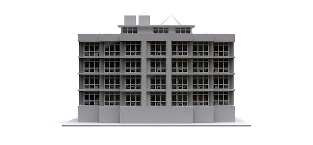 Modèle de condominium de couleur blanche avec verres transparents. immeuble. rendu 3d.