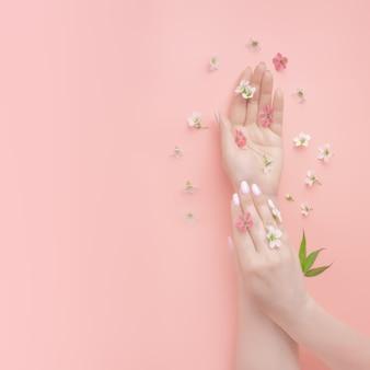 Modèle de cosmétiques naturels, de belles mains de femme bien entretenues et de fleurs sauvages