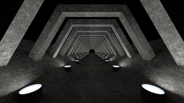 Un modèle de couloir en béton avec éclairage